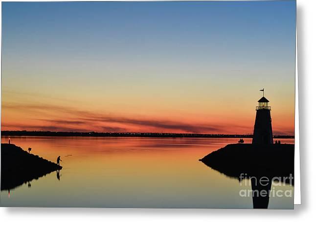 Fishing At Sunset Greeting Card