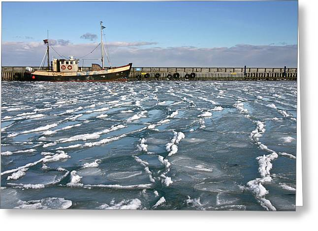 Fishing Boat In Ice At Rungsted Havn / Harbour Greeting Card