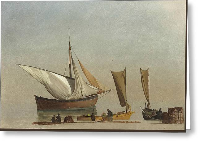 Fishing Boats Greeting Card by Albert Bierstadt