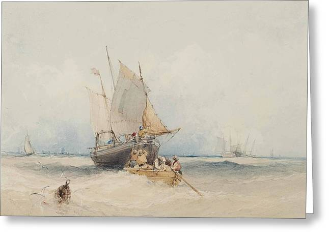 Fishing Boats Off Lowestoft Greeting Card by MotionAge Designs