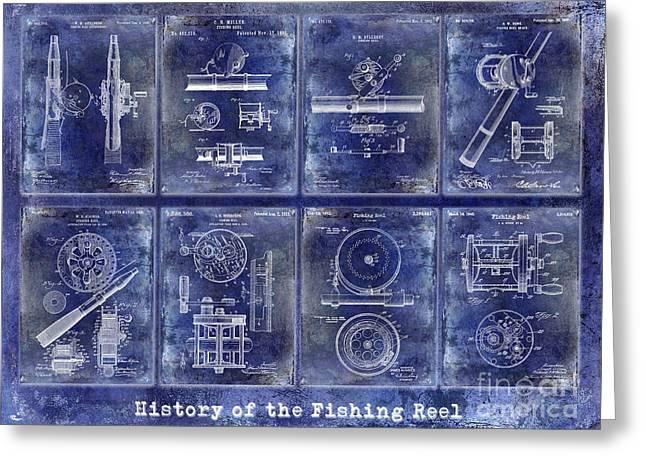 Fishing Reel Patent History Greeting Card by Jon Neidert
