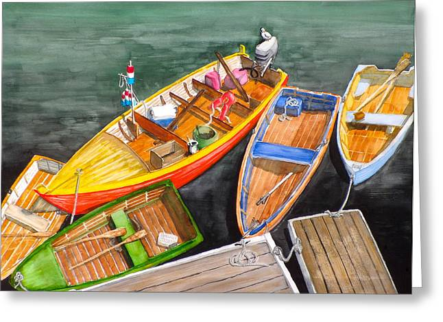 Five Boats In Rockport Harbor Greeting Card