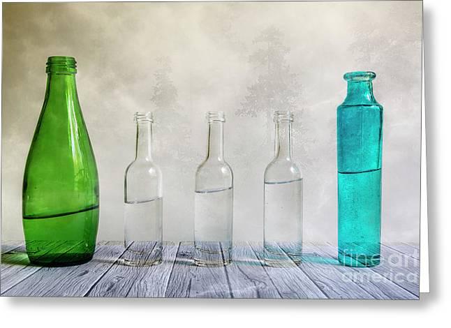 Five Bottles Greeting Card by Veikko Suikkanen