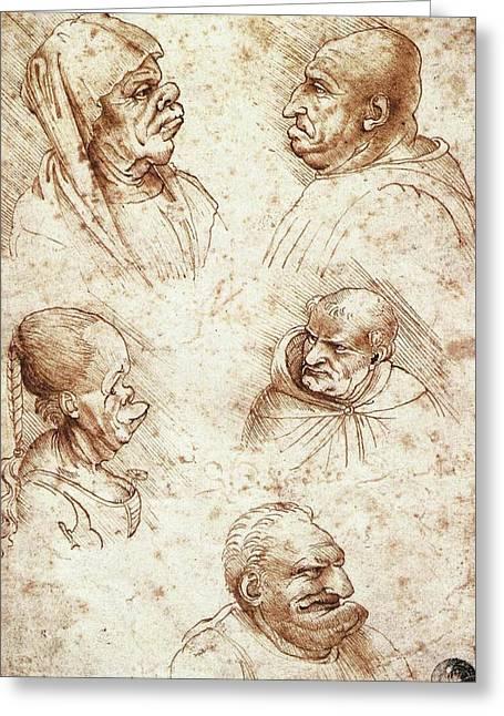 Five Caricature Heads Greeting Card by Leonardo da Vinci