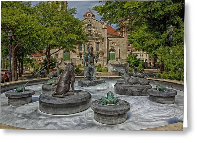 Five Points Fountain - Birmingham Alabama Greeting Card by Mountain Dreams