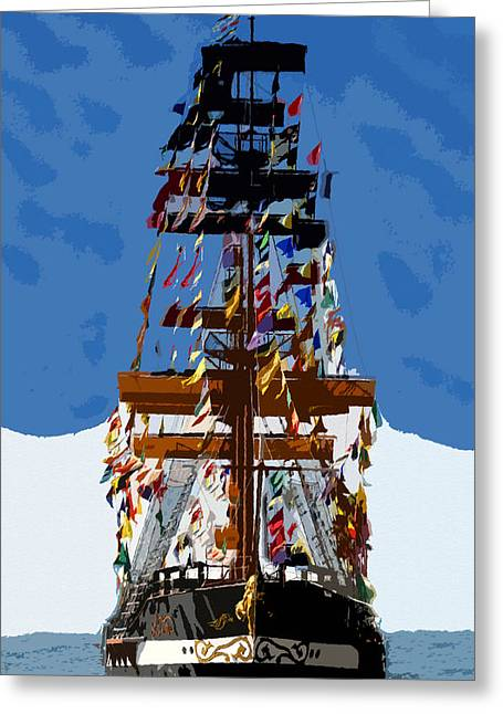 Pirate Ship Digital Greeting Cards - Flags of Gasparilla Greeting Card by David Lee Thompson