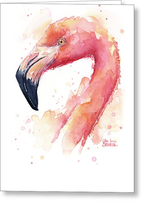 Flamingo Watercolor  Greeting Card by Olga Shvartsur