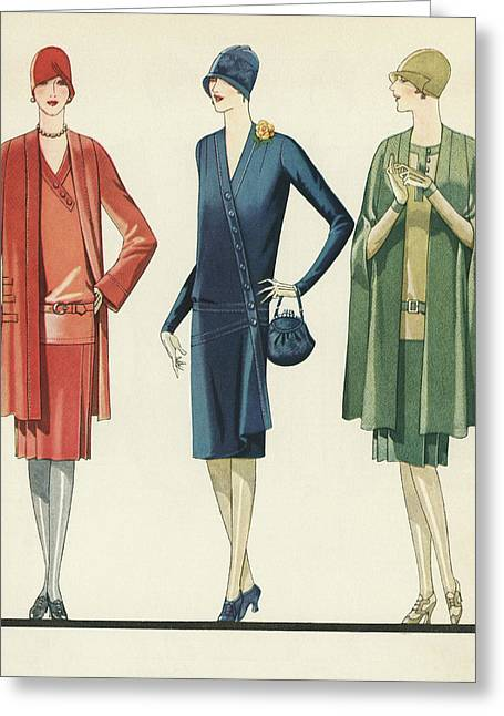 Flappers In Frocks And Coats, 1928 Greeting Card by American School