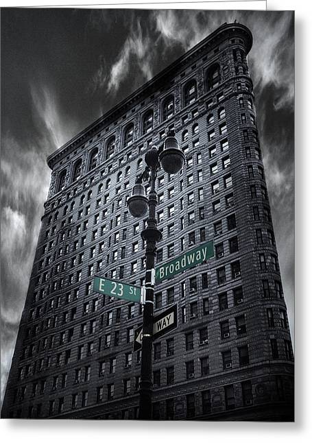 Greeting Card featuring the photograph Flatiron Noir by Jessica Jenney