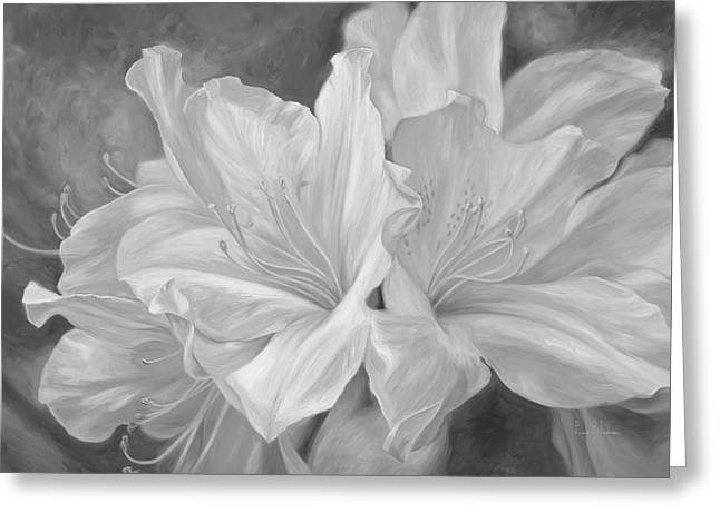 Fleurs Blanches - Black And White Greeting Card by Lucie Bilodeau