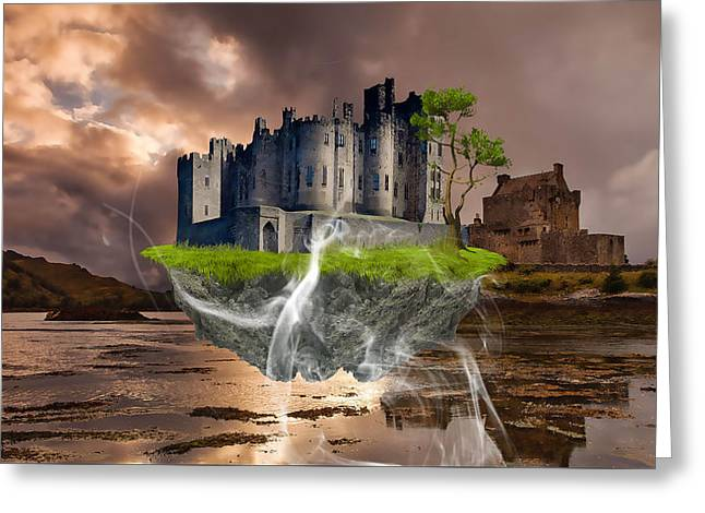 Floating Castle Greeting Card by Marvin Blaine