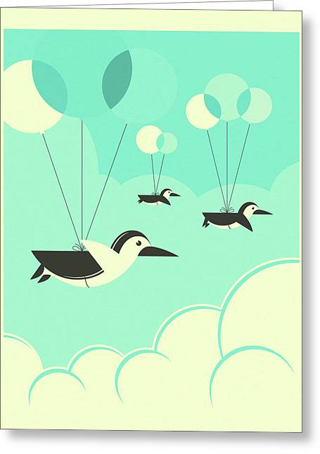 Flock Of Penguins Greeting Card