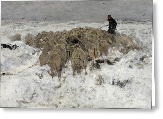 Flock Of Sheep With Shepherd In The Snow Greeting Card