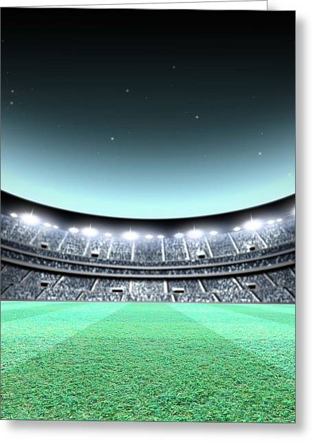Floodlit Stadium Night Greeting Card by Allan Swart