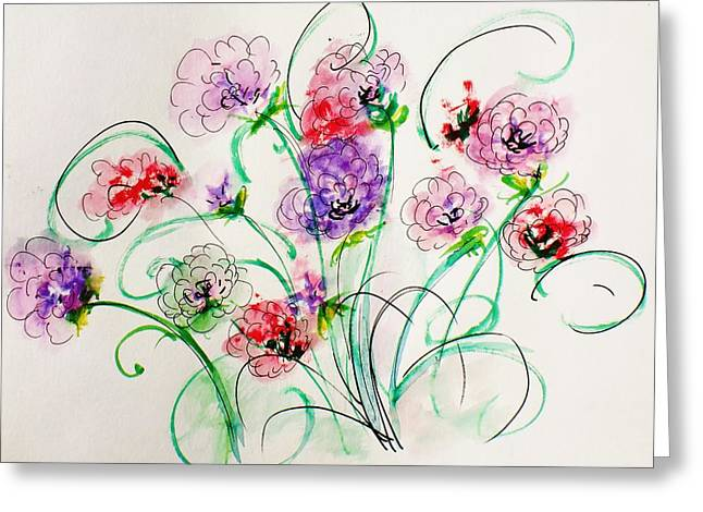 Floral Bunch Greeting Card by Trilby Cole