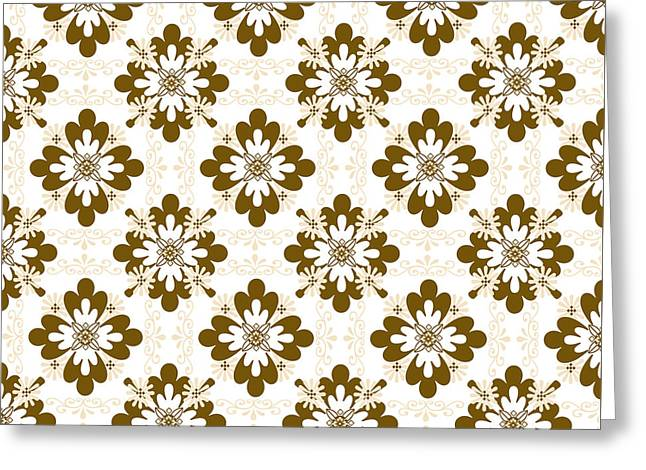 Taupe Floral Pattern Greeting Card