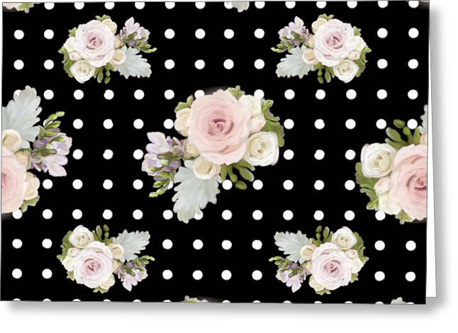 Floral Rose Cluster W Dot Bedding Home Decor Art Greeting Card
