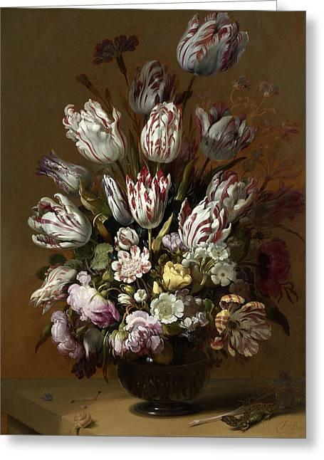 Floral Still Life Greeting Card by Hans Bollongier