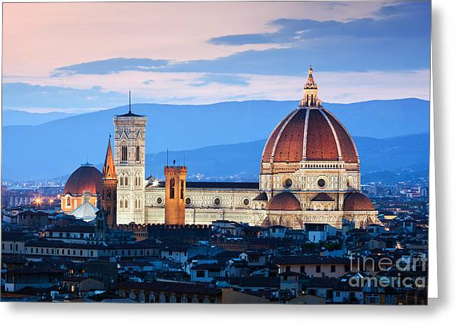 Florence, Italy Sunset Skyline. Cathedral Of Saint Mary Of The Flowers Greeting Card