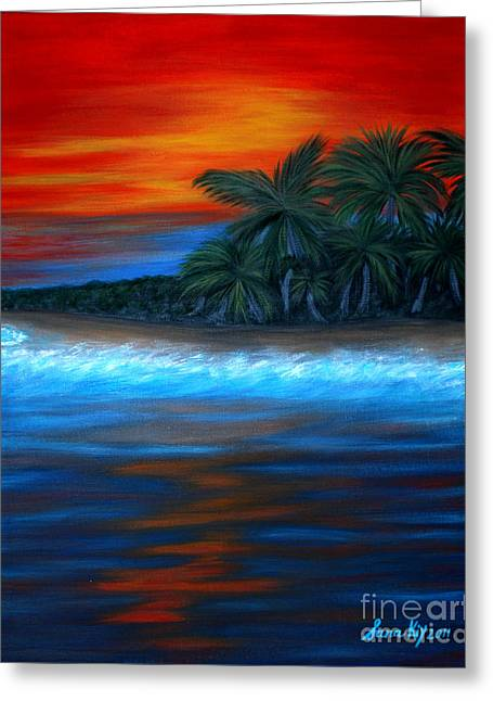 Florida Sunset. Original For Sale Greeting Card by Oksana Semenchenko