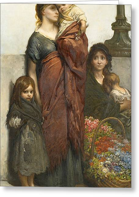 Flower Sellers Of London Greeting Card by Gustave Dore