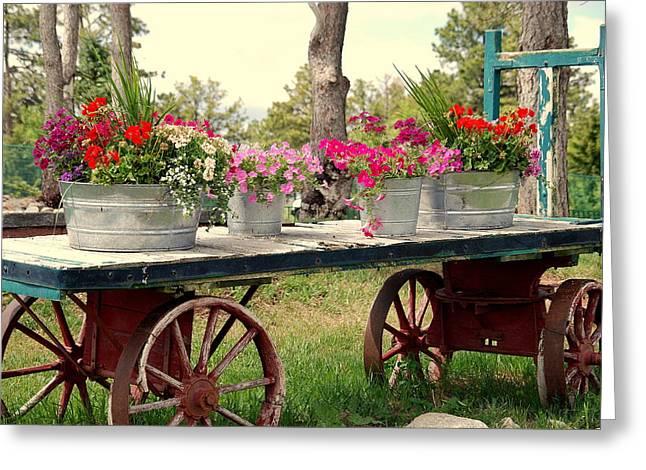 Flower Wagon Greeting Card by Susanne Van Hulst