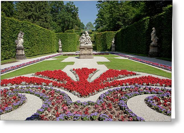 Flowerbeds And Sculptures In Eastern Parterre Greeting Card