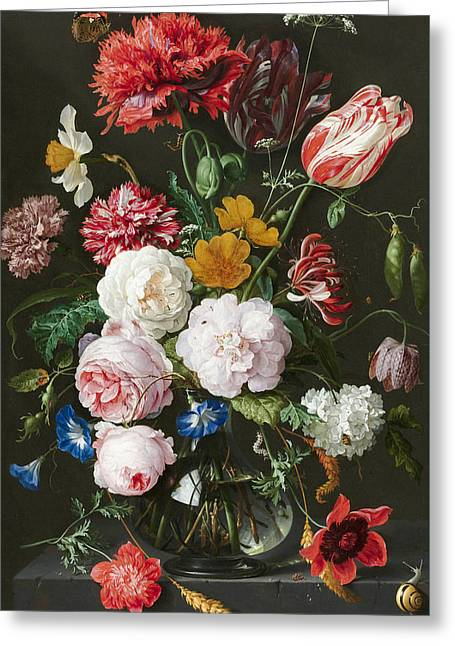 Flowers In A Glass Vase 3 Greeting Card