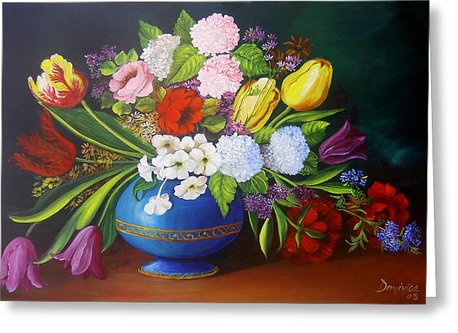 Flowers In A Vase Greeting Card by Dominica Alcantara