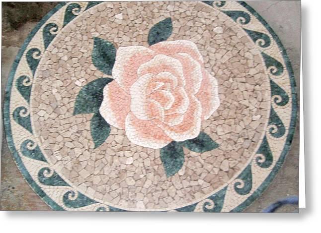 Flowers In Stone Mosaic Greeting Card by Petrit Metohu