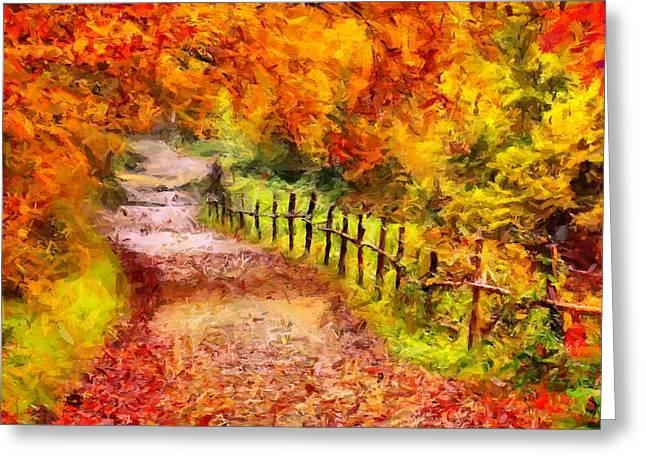 Fall Foliage Path 2 Greeting Card