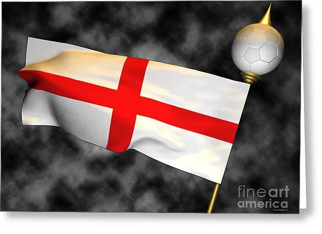 Football World Cup Cheer Series - England Greeting Card by Ganesh Barad