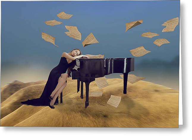 Dreaming Of Playing My Piano Greeting Card