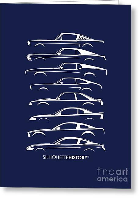 Ford Mustang Silhouettehistory Greeting Card