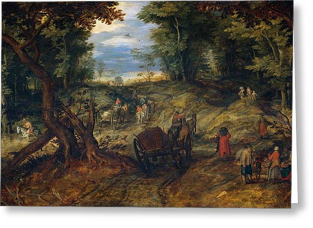 Forest With A Creek Crossing Wagons And Riders Greeting Card by Jan Brueghel the Elder
