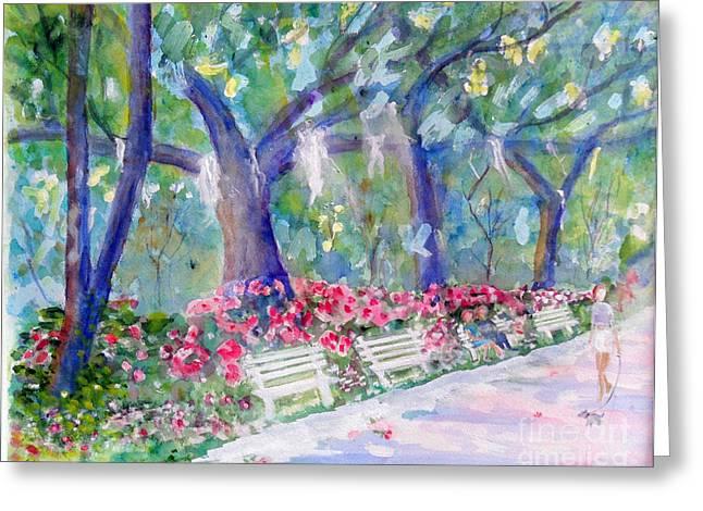 Forsyth Park Savannah Greeting Card by Doris Blessington