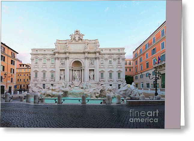 Fountain Di Trevi And Sunrise, Rome Greeting Card by Anastasy Yarmolovich