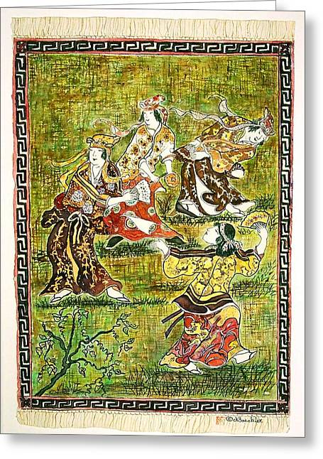 Four Dancers Greeting Card by Norma Boeckler