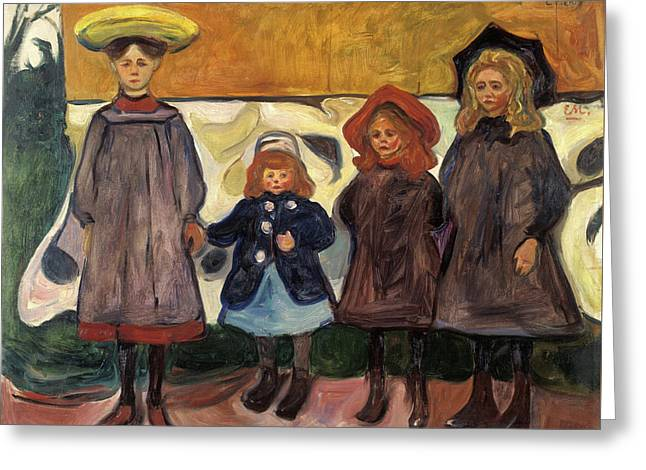 Four Girls In Asgardstrand Greeting Card by Edvard Munch