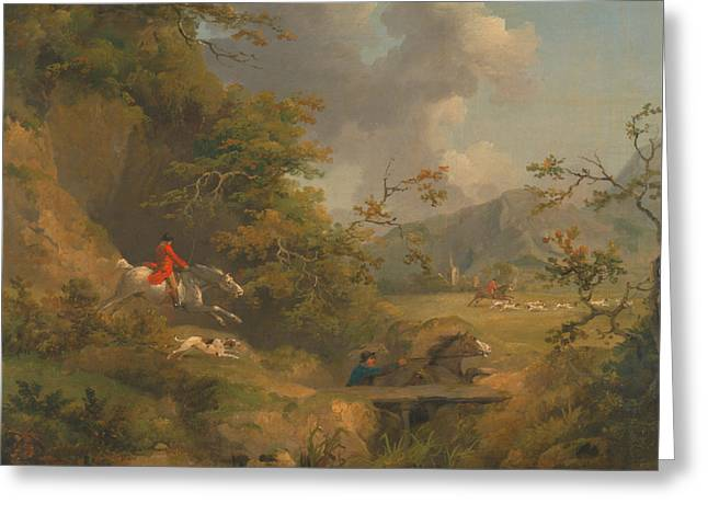 Fox Hunting In Hilly Country Greeting Card by Mountain Dreams