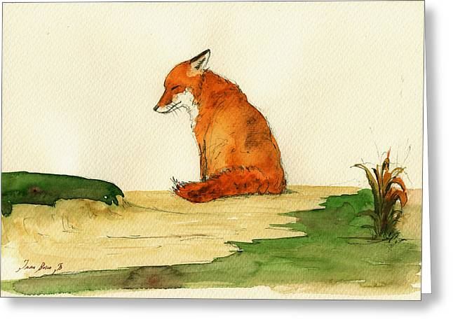 Fox Sleeping Painting Greeting Card