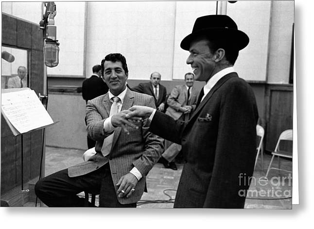 Frank Sinatra And Dean Martin At Capitol Records Studios 1958. Greeting Card