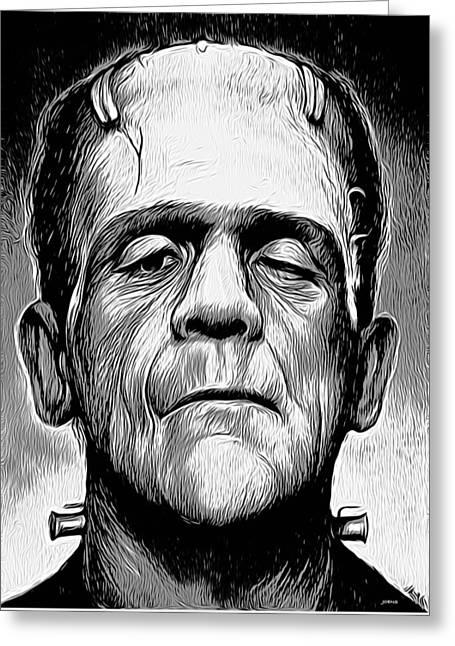 Frankenstein Greeting Card by Greg Joens