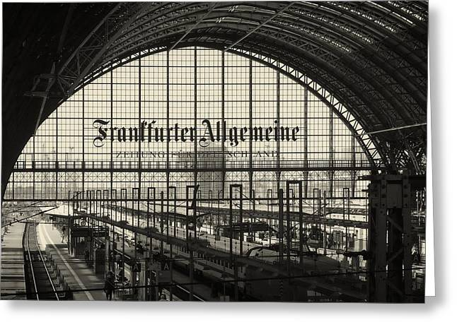 White Photographs Greeting Cards - Frankfort Train Station Greeting Card by Gunter Lubadel