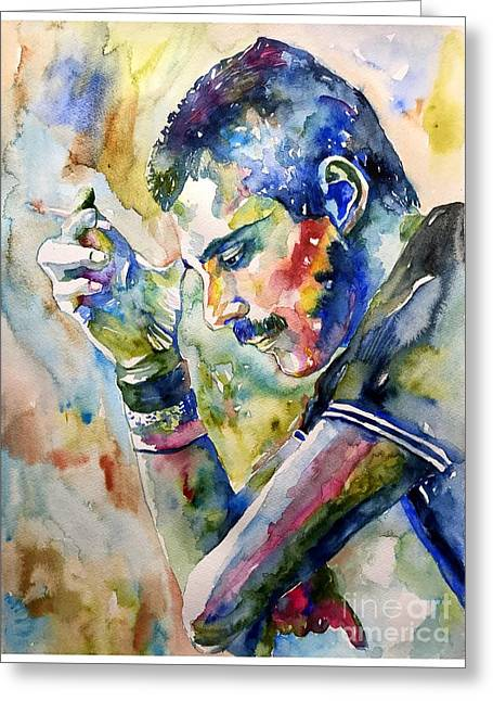 Freddie Mercury Watercolor Greeting Card