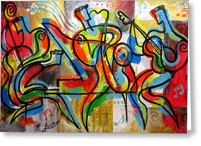 Free Form Paintings Greeting Cards - Free Jazz Greeting Card by Leon Zernitsky