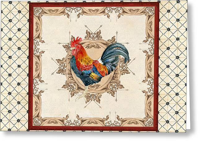 French Country Roosters Quartet Cream 2 Greeting Card by Audrey Jeanne Roberts