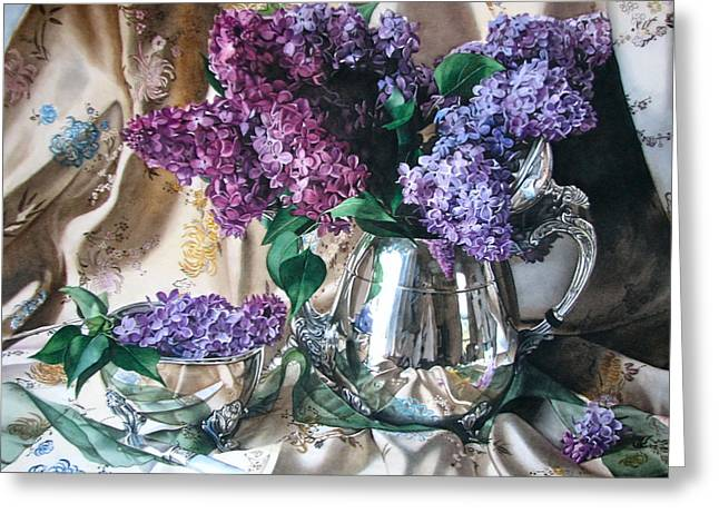 French Lilacs Greeting Card by Kimberly Meuse