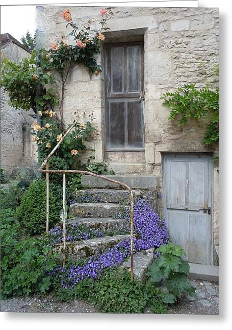 Stone Steps Greeting Cards - French Staircase With Flowers Greeting Card by Marilyn Dunlap
