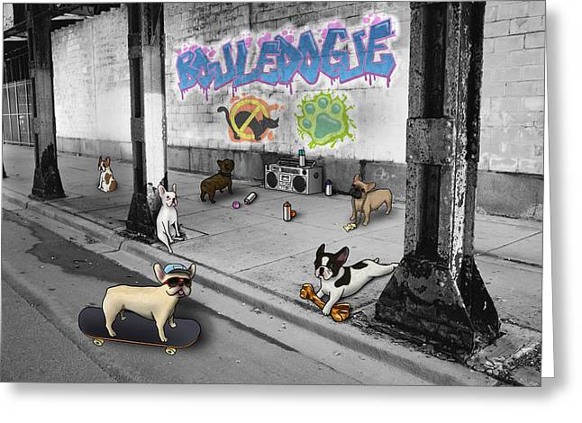 Frenchie Street Gang Greeting Card